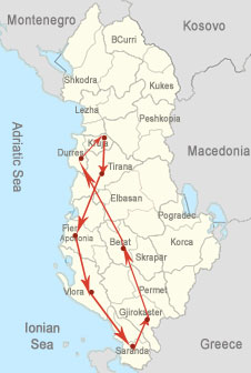 Tour map-Highlights  of Albania